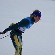 Winter Olympics, Vancouver, 2010.Australian Esther Bottomley training in the snow on the Olympic Cross Country course at  Whistler Olympic Park  in preparation for the event at the Winter Olympics. 10th February 2010. Photo Tim Clayton
