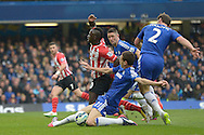 Nemanja Matic of Chelsea fouling Sadio Mane of Southampton in the penalty box for which a penalty is given. .Barclays Premier league match, Chelsea v Southampton at Stamford Bridge in London on Sunday 15th March 2015.<br /> pic by John Patrick Fletcher, Andrew Orchard sports photography.