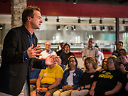 12 SEPTEMBER 2019 - CLIVE, IOWA: Governor STEVE BULLOCK (D-MT), speaks to Iowa voters at a campaign event in a microbrewery in Clive, IA, a suburb of Des Moines. Gov. Bullock is vying to be the Democratic party's nominee in 2020. He is campaigning in Iowa this week because he didn't qualify for the September 12 debate. Iowa traditionally hosts the the first election event of the presidential election cycle. The Iowa Caucuses will be on Feb. 3, 2020.              PHOTO BY JACK KURTZ