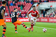 Middlesbrough forward Adama Traore (37) goes past Sheffield Wednesday midfielder Ross Wallace (33)  during the The FA Cup match between Middlesbrough and Sheffield Wednesday at the Riverside Stadium, Middlesbrough, England on 8 January 2017. Photo by Simon Davies.