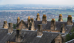 Chimney pots on old houses overlooking city of Stirling in Scotland, UK