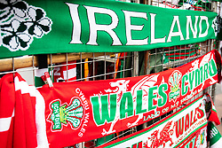 A general view of scarves on sale<br /> <br /> Photographer Simon King/Replay Images<br /> <br /> Six Nations Round 5 - Wales v Ireland - Saturday 16th March 2019 - Principality Stadium - Cardiff<br /> <br /> World Copyright © Replay Images . All rights reserved. info@replayimages.co.uk - http://replayimages.co.uk
