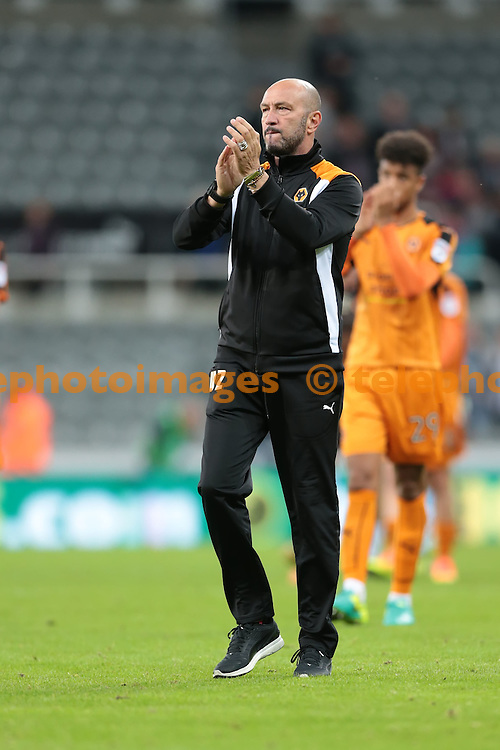 Wolverhampton Wanderers Manager Walter Zenga thanks the fans after the EFL Cup Third Round match between Newcastle United and Wolverhampton Wanderers at St. James' Park in Newcastle. September 20, 2016.<br /> Nigel Pitts-Drake / Telephoto Images<br /> +44 7967 642437