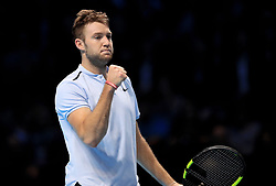 Jack Sock celebrates a point during day five of the NITTO ATP World Tour Finals at the O2 Arena, London.