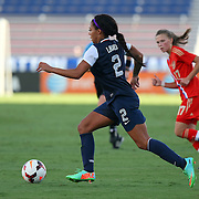 U.S. forward Sydney Leroux (2) is seen during an international friendly soccer match between the United States Women's National soccer team and the Russia National soccer team at FAU Stadium on Saturday, February 8, in Boca Raton, Florida. The U.S. won the match by a score of 7-0. (AP Photo/Alex Menendez)
