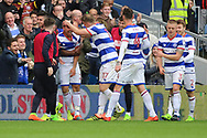 Queens Park Rangers midfielder Massimo Luongo (21) celebrating after scoring 4-1 during the EFL Sky Bet Championship match between Queens Park Rangers and Rotherham United at the Loftus Road Stadium, London, England on 18 March 2017. Photo by Matthew Redman.