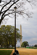 Washington Monument as seen from the National Mall in the Fall.