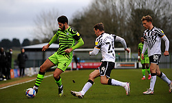 David Fitzpatrick of Port Vale competes with Dan Sweeney of Forest Green Rovers - Mandatory by-line: Nizaam Jones/JMP - 16/01/2021 - FOOTBALL - innocent New Lawn Stadium - Nailsworth, England - Forest Green Rovers v Port Vale - Sky Bet League Two