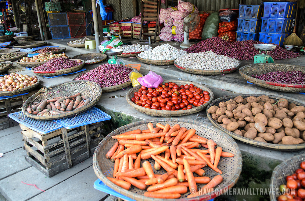 Fresh vegetables for sale at Cho Dong Ba, the main city market in Hue, Vietnam.