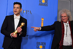 January 6, 2019 - Los Angeles, California, U.S. - Rami Malek, winner for ''Bohemian Rhapsody'' and Queen's Brian May in the Press Room during the 76th Annual Golden Globe Awards at The Beverly Hilton Hotel. (Credit Image: © Kevin Sullivan via ZUMA Wire)