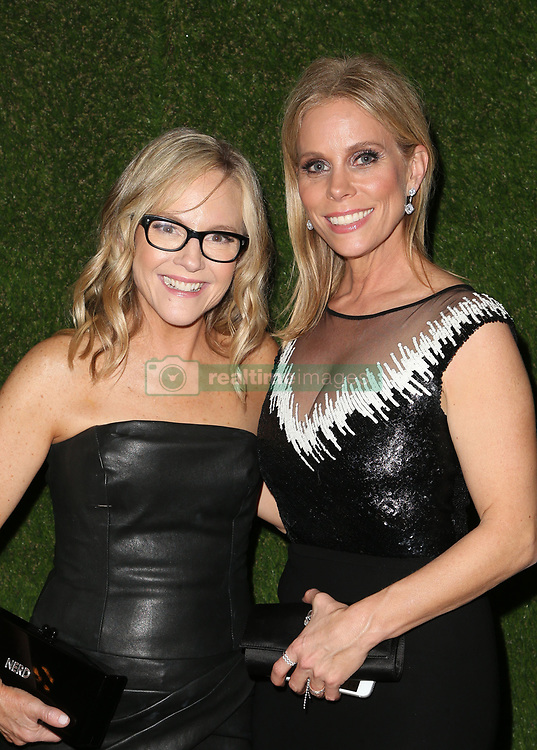 BEVERLY HILLS, CA - JANUARY 7: Salma Hayek, at 75th Annual Golden Globe Awards_Roaming at The Beverly Hilton Hotel in Beverly Hills, California on January 7, 2018. CAP/MPIFS ©MPIFS/Capital Pictures. 08 Jan 2018 Pictured: Rachael Harris, Cheryl Hines. Photo credit: MPIFS/Capital Pictures / MEGA TheMegaAgency.com +1 888 505 6342