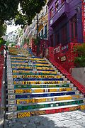 Selaron stairs, in the bohemian dsitrict of Lapa, Rio de Janeiro consists of thosands of tiles from all around the World, and has been used for the filming of a music video by Snoop Doggy Dog.