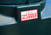 Watchman Alarm alarmed oil tank notice sign, UK - 'This tank is alarmed'