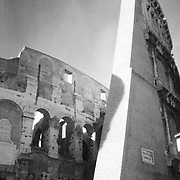 Infrared photo of the Coliseum in Rome, Italy.