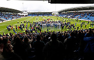 Wycombe players and fans celebrate promotion to League One during the EFL Sky Bet League 2 match between Chesterfield and Wycombe Wanderers at the b2net stadium, Chesterfield, England on 28 April 2018. Picture by Paul Thompson.