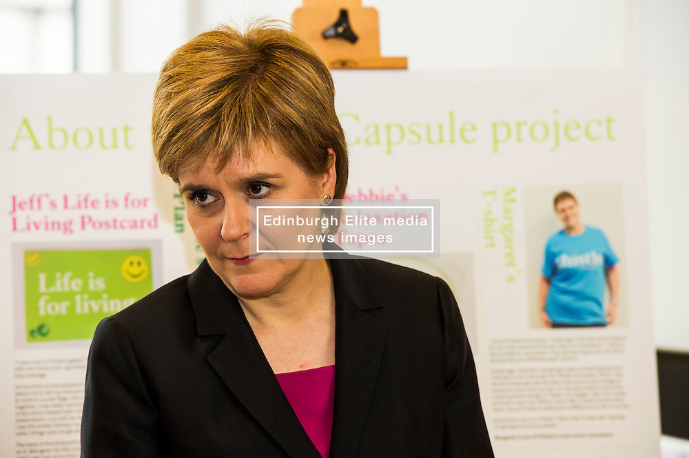 Pictured: Nicola Sturgeon<br /> <br /> The First Minister Nicola Sturgeon, MSP, joined people supported by the Thistle Foundation to bury a time capsule to mark the opening of a new health and social care centre. <br /> Ger Harley   EEm 14 June 2016