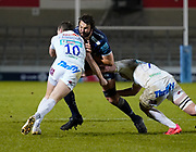 Sale Sharks lock Lood De Jager runs at Exeter Chiefs flanker Jacques Vermeulen and Joe Simmonds during a Gallagher Premiership Round 11 Rugby Union match, Friday, Feb 26, 2021, in Eccles, United Kingdom. (Steve Flynn/Image of Sport)