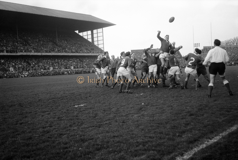 P O'Callaghan, Dolphin Rugby Club, palms ball from line out to Sherry,..Irish Rugby Football Union, Ireland v Australia, Tour Match, Landsdowne Road, Dublin, Ireland, Saturday 21st January, 1967,.21.1.1967, 1.21.1967,..Referee- M Joseph, Welsh Rugby Union, ..Score- Ireland 15 - 8 Australia, ..Irish Team, ..T J Kiernan,  Wearing number 15 Irish jersey, Full Back, Cork Constitution Rugby Football Club, Cork, Ireland,..A T A Duggan, Wearing number 14 Irish jersey, Right Wing, Landsdowne Rugby Football Club, Dublin, Ireland,..F P K Bresnihan, Wearing number 13 Irish jersey, Right Centre, University College Dublin Rugby Football Club, Dublin, Ireland, ..H H Rea, Wearing number 12 Irish jersey, Left Centre, Edinburgh University Rugby Football Club, Edinburgh, Scotland, ..P J McGrath,  Wearing number 11 Irish jersey, Left Wing, University college Cork Rugby Football Club, Cork, Ireland,  ..C M H Gibson, Wearing number 10 Irish jersey, Stand Off, N.I.F.C, Rugby Football Club, Belfast, Northern Ireland, ..B F Sherry, Wearing number 9 Irish jersey, Scrum Half, Terenure Rugby Football Club, Dublin, Ireland, ..K G Goodall, Wearing number 8 Irish jersey, Forward, Newcastle University Rugby Football Club, Newcastle, England, ..M G Doyle, Wearing number 7 Irish jersey, Forward, Edinburgh Wanderers Rugby Football Club, Edinburgh, Scotland, ..N Murphy, Wearing number 6 Irish jersey, Forward, Cork Constitution Rugby Football Club, Cork, Ireland,..M Molloy, Wearing number 5 Irish jersey, Forward, University College Galway Rugby Football Club, Galway, Ireland,  ..W J McBride, Wearing number 4 Irish jersey, Forward, Ballymena Rugby Football Club, Antrim, Northern Ireland,..P O'Callaghan, Wearing number 3 Irish jersey, Forward, Dolphin Rugby Football Club, Cork, Ireland, ..K W Kennedy, Wearing number 2 Irish jersey, Forward, C I Y M S Rugby Football Club, Belfast, Northern Ireland, ..T A Moroney, Wearing number 1 Irish jersey, Forward, University College Dublin Rugby Football Club, Dubli