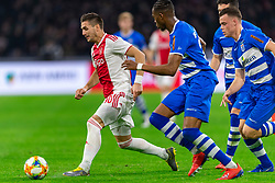 13-03-2019 NED: Ajax - PEC Zwolle, Amsterdam<br /> Ajax has booked an oppressive victory over PEC Zwolle without entertaining the public 2-1 / Pelle Clement #22 of PEC Zwolle, Dusan Tadic #10 of Ajax, Vito van Crooij #7 of PEC Zwolle, Kingsley Ehizibue #20 of PEC Zwolle