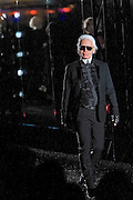Karl Lagarfeld walks the catwalk in front of the famous Shanghai Pudong panorama at Chanel Fashion Show in Shanghai, on December 3, 2009. Photo by Lucas Schifres/Pictobank
