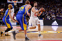 Real Madrid's Sergio Llull and Maccabi Fox's Colton Iverson during Turkish Airlines Euroleague match between Real Madrid and Maccabi at Wizink Center in Madrid, Spain. January 13, 2017. (ALTERPHOTOS/BorjaB.Hojas)