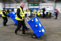 Edinburgh, Scotland, UK. 12th December 2019. Ballot boxes arriving at the Parliamentary General Election Count at the Royal Highland Centre in Edinburgh. Iain Masterton/Alamy Live News