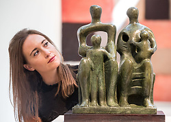 June 16, 2017 - London, London, United Kingdom - Image ©Licensed to i-Images Picture Agency. 16/06/2017. London, United Kingdom. .Henry Moore, 'Family Group', 1946 estimated at £1.5- £2.5 Million.Christie's Modern British and Irish art evening sale June 26th. Christie's. Picture by Mark Thomas / i-Images (Credit Image: © Mark Thomas/i-Images via ZUMA Press)