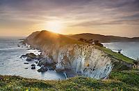 Sunset over the headlands near Chimney Rock, Point Reyes National Seashore California