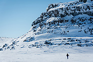 Cross country skiing near Paterson Island in Nunavut