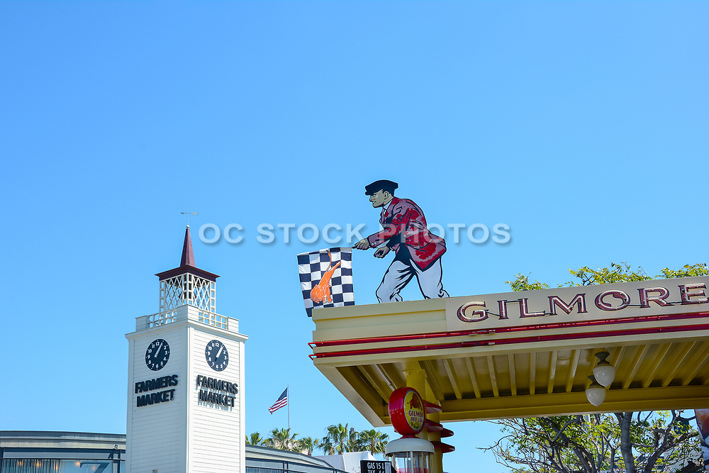 The Original Farmers Market Clock Tower And Gilmore Sign