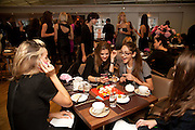 LISA BUTCHER; LINDA PAPADOPOULOS; AMBER DONOSO, Tea party in celebration of Project D by Dannii and Tabitha at Harvey Nicholls. Knightsbridge. London. 26 October 2010.  ( This is the launch of a fragrance by Dannii Minogue and Tabitha Somerset Webb ..) and -DO NOT ARCHIVE-© Copyright Photograph by Dafydd Jones. 248 Clapham Rd. London SW9 0PZ. Tel 0207 820 0771. www.dafjones.com.