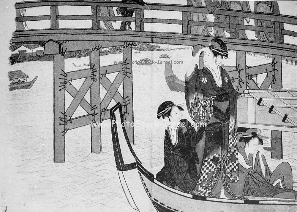 Girls in Pleasure Boats From the book ' The story of the geisha girl ' by Taizo Fujimoto, Published in London by T. Werner Laurie