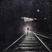Surreal photomanipulation with a man walking a railroad towards an ominous light.<br /> Society6 Prints & more: https://society6.com/product/tales-of-a-somnambulist_print#1=45<br /> REDBUBBLE Prints: http://www.redbubble.com/people/dyrkwyst/works/20891783-tales-of-a-somnambulist?p=photographic-print