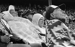 Fans bundle up from cold at Candlestick Park during the 1984 MLB All-Star game. (photo/Ron Riesterer)