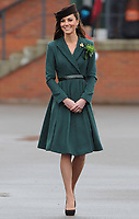 The Duchess of Cambridge presents shamrock to the Irish Guards on St Patrick's Day at Mons Barracks, Aldershot, Hampshire, on the 17th March 2012.<br /> PICTURE BY JAMES WHATLING
