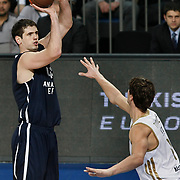Anadolu Efes's Stanko Barac (L) during their Turkish Airlines Euroleague Basketball Group C Game 10 match Anadolu Efes between Real Madrid at Sinan Erdem Arena in Istanbul, Turkey, Thursday, December 22, 2011. Photo by TURKPIX