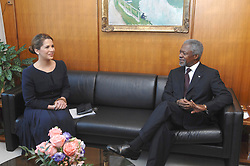 File Photo - Princess Haya of Jordan and UN Secretary-General Kofi Annan appealed for nearly $4 billion in New York on November 30, 2006 to help 27 million people in 29 countries 'whose lives have been crippled by conflict and calamity', expressing dismay that rich nations have consistently given just two-thirds of the funds needed. Princess Haya of Jordan is the wife of Dubai ruler and a U.N. goodwill ambassador. She launched the appeal with U.N. humanitarian chief Jan Egeland, who said rich nations spend more annually fighting obesity than helping the hungry and needy - and much more on pets and ice cream. Princess Haya declared : 'these programs really make people live and that's a scary thought - just the difference between life and death is what we're asking for here today'. Kofi Annan, the former UN secretary-general who won the Nobel Peace Prize for humanitarian work, has died aged 80, his aides say. Photo by Ammar Abd Rabbo/Balkis Press/ABACAPRESS.COM
