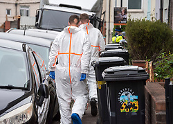© Licensed to London News Pictures; 14/09/2021; Bristol, UK. Police and Forensics are seen in Wood Street in Easton as part of an investigation after the bodies of two men were found on Sunday 12 September. Three men, aged 21, 37 and 45, and an 18-year-old woman  were arrested on suspicion of murder, but the 18-year-old woman and a 37-year-old man have been released without charge and are said to be helping police with their enquiries. Police also searched a house and parkland in Fishponds in connection with the investigation. Photo credit: Simon Chapman/LNP.