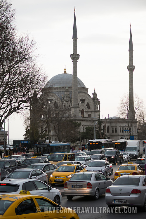 Afternoon traffic clogs the main road in front of Dolmabahce Mosque in Istanbul.