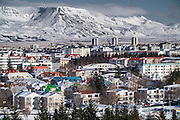 Panoramic views from La Perla top floor view point, Reykjavik, Iceland