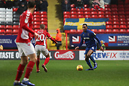 Charlton Athletic defender Chris Solly (20) battles for possession with AFC Wimbledon defender Terell Thomas (6) during the EFL Sky Bet League 1 match between Charlton Athletic and AFC Wimbledon at The Valley, London, England on 15 December 2018.