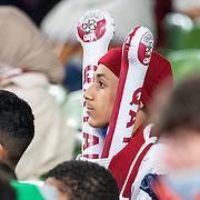 DUBLIN, IRELAND:  October 12:   A Qatar supporter during the Republic of Ireland V Qatar International friendly match at Aviva Stadium on October 12th, 2021 in Dublin, Ireland. (Photo by Tim Clayton/Corbis via Getty Images)