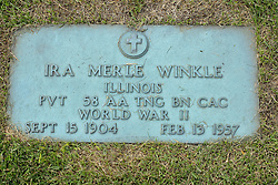 31 August 2017:   Veterans graves in Park Hill Cemetery in eastern McLean County.<br /> <br /> Ira Merle Winkle  Illinois Private 58 AA TNG BN CAC  World War II Sept 15 1904 Feb 13 1957