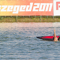 Peter Gelle and Erik Vlcek celebrate their victory in the K2 Men Kayak 1000m Final of the 2011 ICF World Canoe Sprint Championships held in Szeged, Hungary on August 19, 2011. ATTILA VOLGYI