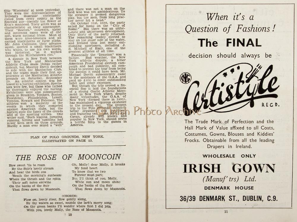 All Ireland Senior Hurling Championship Final,.Brochures,.07.09.1947, 09.07.1947, 7th September 1947,.Kilkenny 0-14, Cork 2-7,.Minor Galway v Tipperary, .Senior Kilkenny v Cork, .Croke Park,..Poems, The Rose of Mooncoin, ..Advertisements, Certistyle Irish Gown,