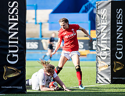Sarah Beckett of England scores her sides eighth try<br /> <br /> Photographer Simon King/Replay Images<br /> <br /> Six Nations Round 3 - Wales Women v England Women - Sunday 24th February 2019 - Cardiff Arms Park - Cardiff<br /> <br /> World Copyright © Replay Images . All rights reserved. info@replayimages.co.uk - http://replayimages.co.uk
