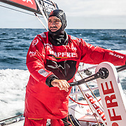Leg 7 from Auckland to Itajai, day 03 on board MAPFRE, Xabi Fernandez trimming. 19 March, 2018.