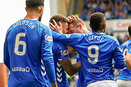 GOAL - Rangers Captain James Tavernier celebrates his side 1st goal of the game during the Ladbrokes Scottish Premiership match between Rangers and Aberdeen at Ibrox, Glasgow, Scotland on 27 April 2019.