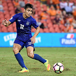 BRISBANE, AUSTRALIA - JANUARY 31: Amani Aguinaldo of Global FC passes the ball during the second qualifying round of the Asian Champions League match between the Brisbane Roar and Global FC at Suncorp Stadium on January 31, 2017 in Brisbane, Australia. (Photo by Patrick Kearney/Brisbane Roar)
