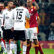 Galatasaray's Felipe Melo De Carvalho (R) during their Turkish superleague soccer derby match Galatasaray between Besiktas at the TT Arena at Seyrantepe in Istanbul Turkey on Sunday, 27 January 2013. Photo by Aykut AKICI/TURKPIX